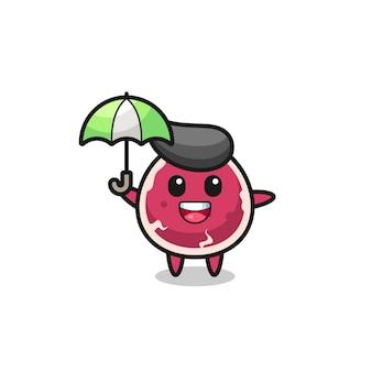 Cute beef illustration holding an umbrella , cute style design for t shirt, sticker, logo element