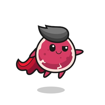 Cute beef superhero character is flying , cute style design for t shirt, sticker, logo element