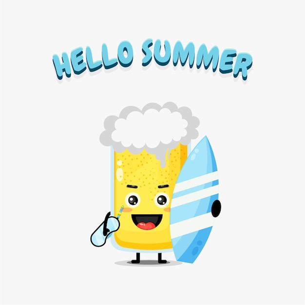 Cute beer mascot carrying a surfboard with summer greetings