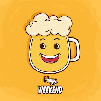 Cute beer mug or glass character with funny face on yellow