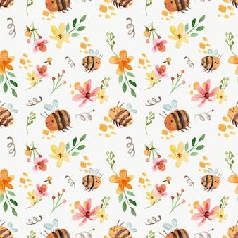 かわいい蜂と黄色の花柄水彩シームレスパターン