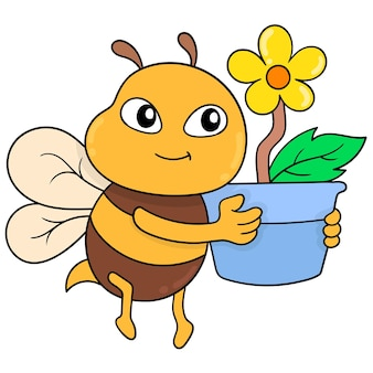 Cute bees fly carrying beautiful sunflower plants, vector illustration art. doodle icon image kawaii.