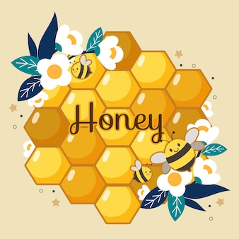 Cute bees flying on a honeycomb and flowers