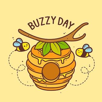 벌집에서 날아 다니는 귀여운 꿀벌