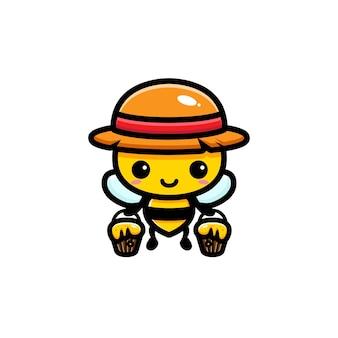 꿀이 가득한 양동이를 운반하는 귀여운 꿀벌