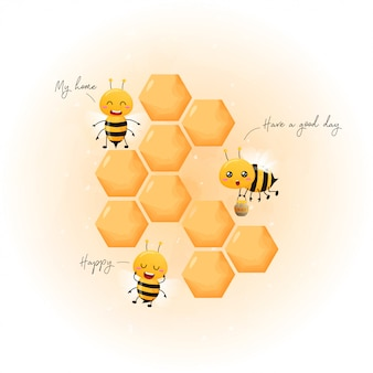 Cute bees and honey honeycombs