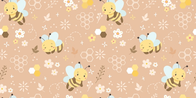 Cute bees seamless pattern