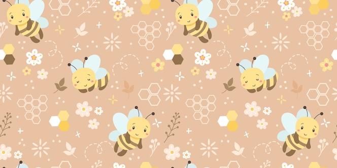 Симпатичные пчелы бесшовные модели