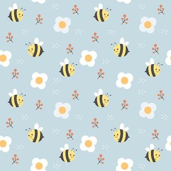 Cute bees and white flowers seamless pattern on light blue background Premium Vector