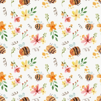 Cute bees and yellow florals watercolor seamless pattern