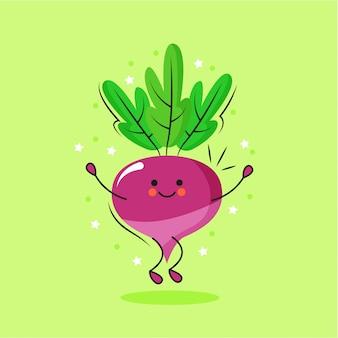 Cute beet cartoon character