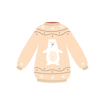 Cute beige christmas sweater with happy white polar bear