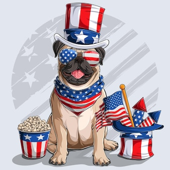 Cute beige pug dog sitting with american independence day elements 4th of july and memorial day