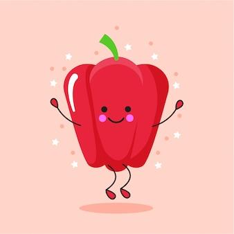 Cute bell pepper cartoon character