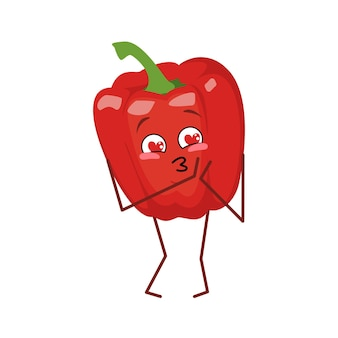 Cute bell pepper character falls in love with eyes hearts isolated on white background. the funny or sad hero, red vegetable. vector flat illustration