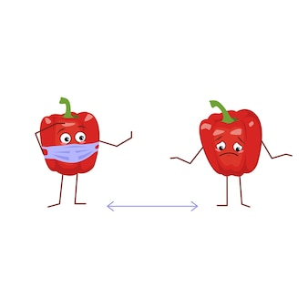 Cute bell pepper character with mask keep distance isolated on white background. the funny or sad hero, red fruit and vegetable. vector flat illustration