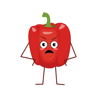 Cute bell pepper with angry emotions isolated on white background. the funny or grumpy hero, red fruit and vegetable. vector flat illustration