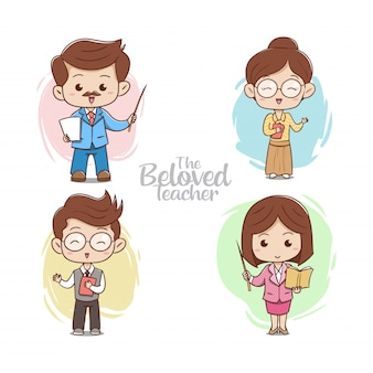 The cute beloved teacher illustration