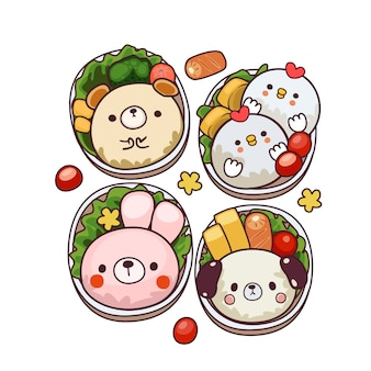 Cute bento illustration
