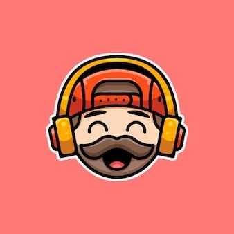 아이콘 스티커 로고 및 일러스트레이션을 위한 헤드폰 맨이 있는 귀여운 beded