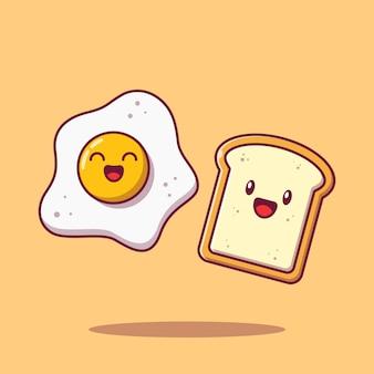 Cute best friend fried egg and bread flat