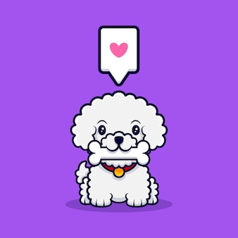 Cute bichon frise dog bring bone cartoon icon illustration