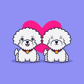 귀여운 bichon frize 개가 사랑 만화 아이콘 일러스트에 빠지다