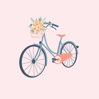Cute bicycle with flower in pastel color
