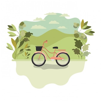 Cute bicycle with landscape isolated icon