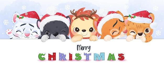 Cute big cat for christmas illustration