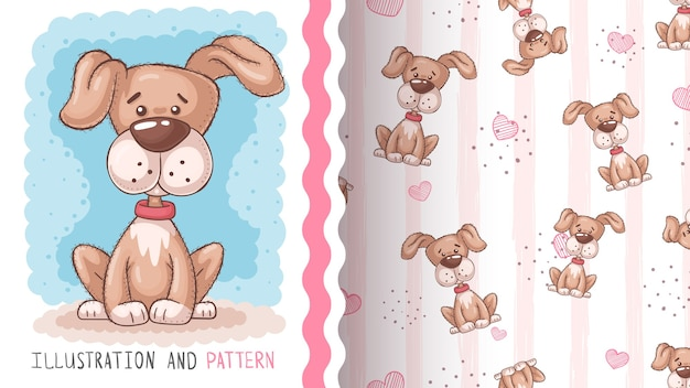 かわいい大きな犬-シームレスなパターン。手描き