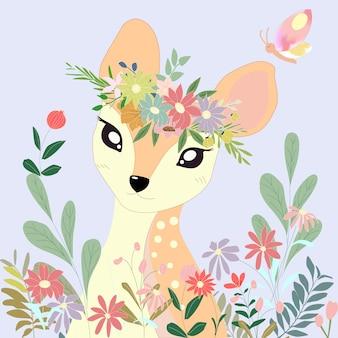 Cute big eyes deer in the flower bush