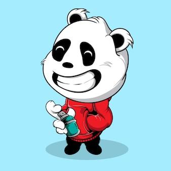 Cute big head panda holding graffiti spray can