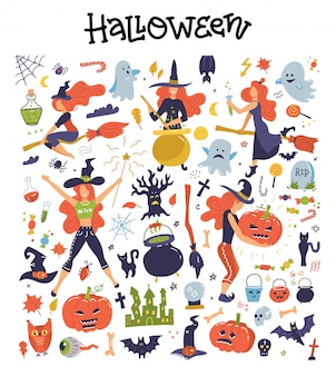 Cute big set with halloween illustrations and icons pumpkin, ghost, cat, bat, young witches, decor clipart.