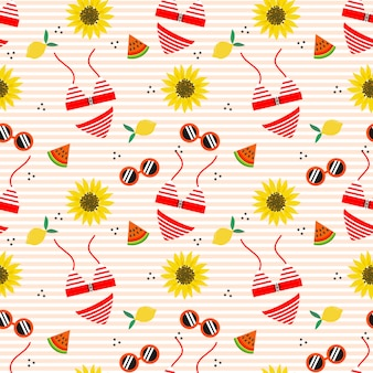 Cute bikini and sunflower seamless pattern.