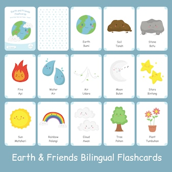 Cute bilingual earth and friends flashcards set