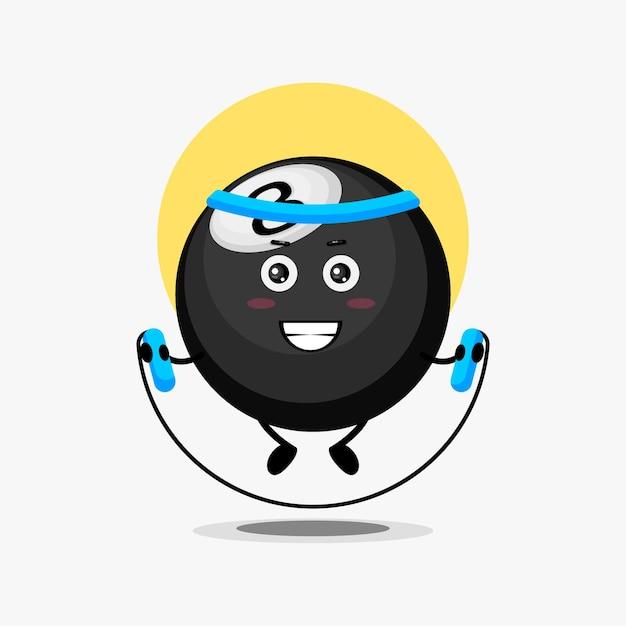 Cute billiard ball character doing jump rope