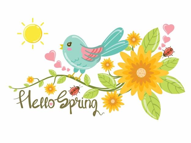 Милая птица и цветы. иллюстрация карты «привет, весна».