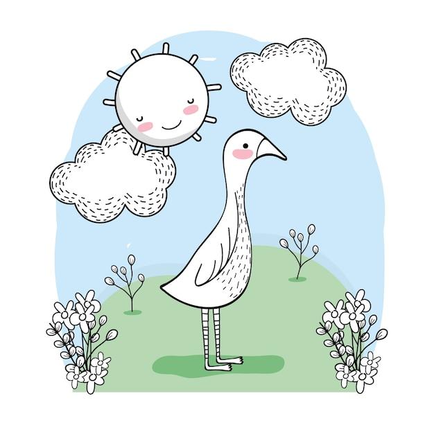 Cute bird animal with happy sun