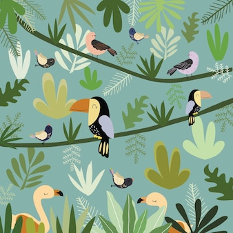 Cute bird in botanical tropical forest pattern.