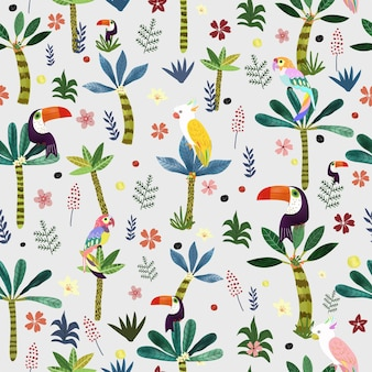 Cute bird in botanical tropical forest seamless pattern.