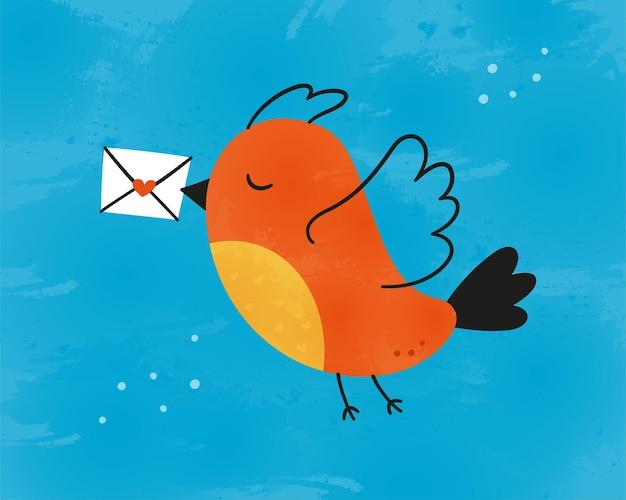 Милая птичка несет любовное письмо. почтальон птица