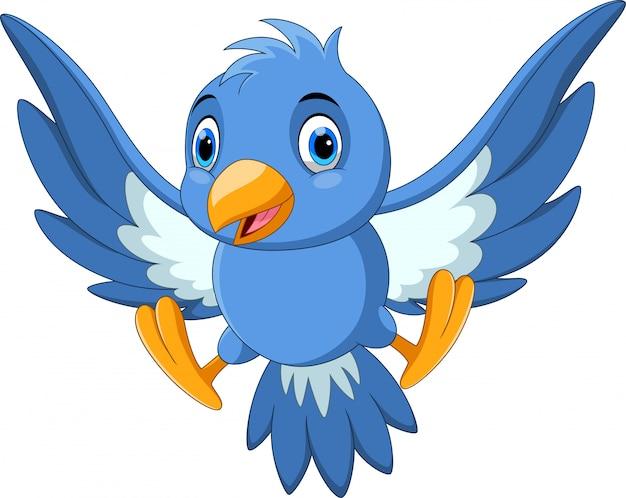 Cute bird cartoon flying