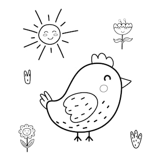 Раскраска милая птичка для детей солнечный день черно-белая