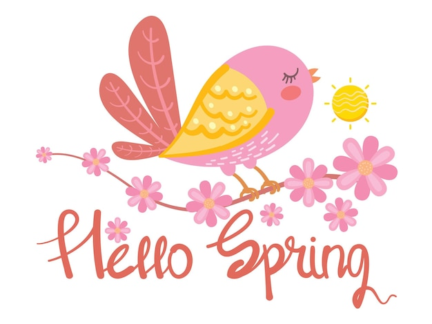 Cute bird and flower hello spring card illustration