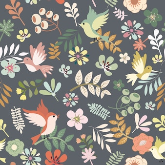 Cute bird and  flower with leaf retro style seamless pattern.