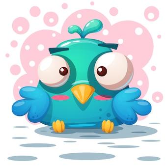 Cute bird illustration. cartoon characters.