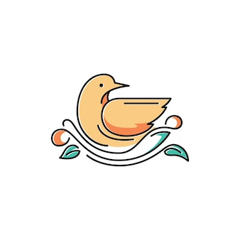Cute bird on nest cute symbol illustration