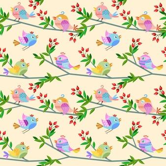 직물 섬유에 대 한 분기 원활한 패턴에 귀여운 새.