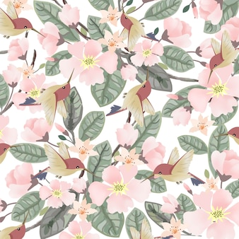 Cute bird and pink floral with green leaf seamless pattern